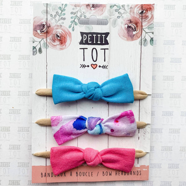 Bows on Headbands Hydra, Aquarelle Rose, Rose Gomme  set of 3 (Min. 2 multiples of 2)