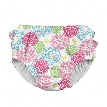 In-Stock Ruffle Snap Reusable Absorbent Swimsuit Diaper-White Zinnia (Min. of 2, multiples of 2)
