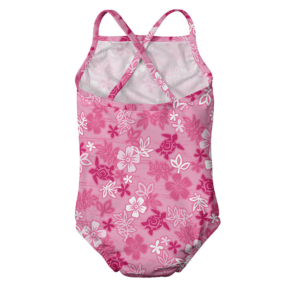 One-piece Swimsuit with Build-in Reusable Absorbent Swim Diaper Pink Hawaiian(Min. of 2)