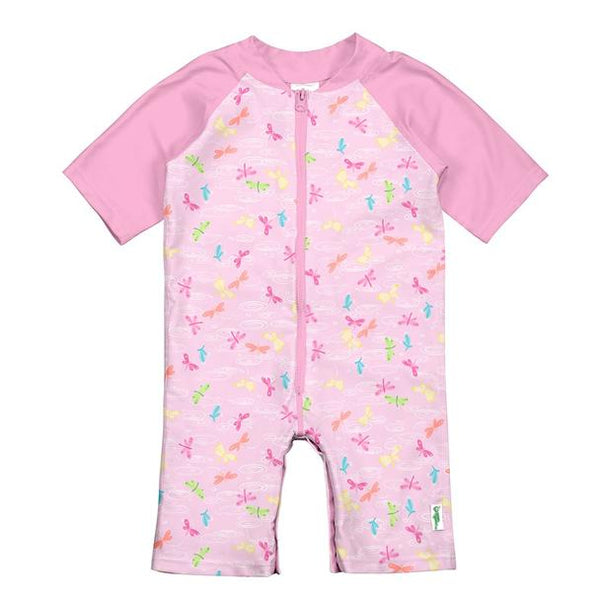 In-Stock One-piece Swim SunSuit Light Pink Dragonfly Pond (Min. of 2)