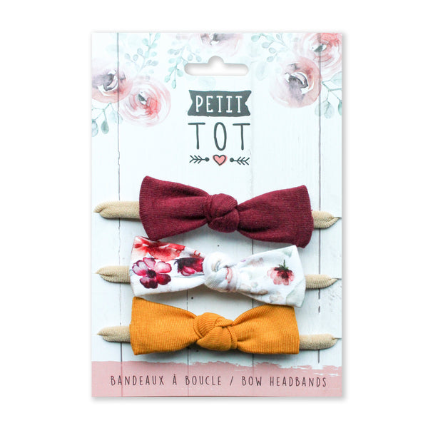 Bows on Burgandy-Floral-Mustard trio set of 3 (Min 2 multiples of 2)