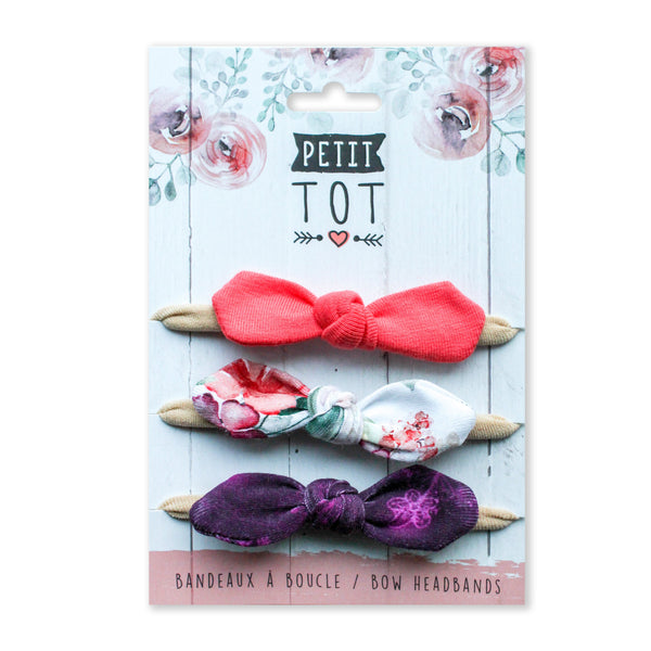 Bows on Coral-Floral-Mauve  trio set of 3 (Min 2 multiples of 2)