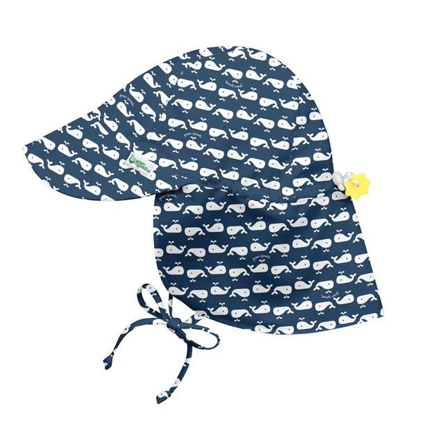 Flap Sun Protection Hat Navy Whale Geo (Min. of 3, multiples of 3)