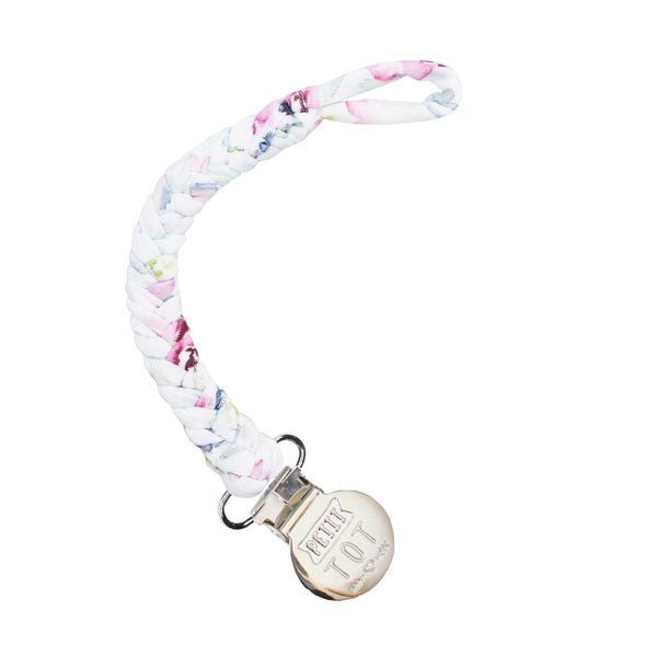 Floral Mauve Braided Pacifier Clips made in Canada (Min 2)