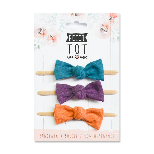 Jersey Bows on Headbands Teal, Purple, Orange set of 3 (Min. 2 multiples of 2)