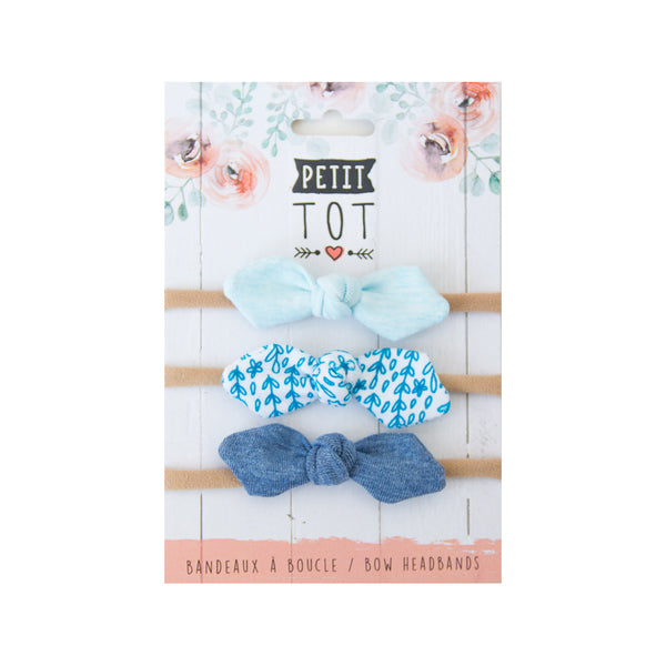 Jersey Bows on Headbands Baby Blue, Blue Floral, Jeans Blue set of 3 (Min. 2 multiples of 2)
