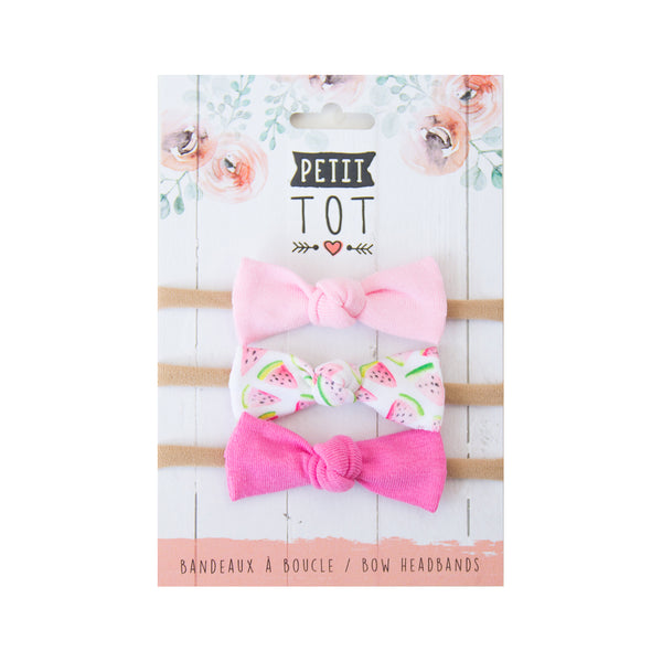 Jersey Bows on Headbands Sweet Pink, Watermelon, Bubble Gum Pink set of 3 (Min. 2 multiples of 2)