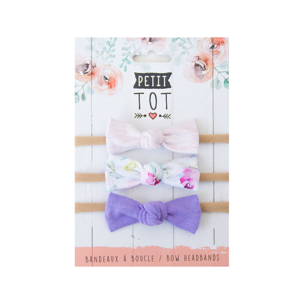 Jersey Bows on Headbands,lilac,purple floral,lavender set of 3 (Min 2)