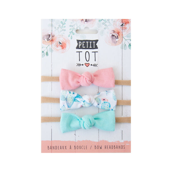 Jersey Bows on Headbands Dusty Rose, Cactus, Mint, set of 3 (Min. 2 multiples of 2)