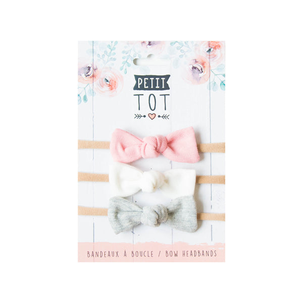 Jersey Bows on Headbands,dusty pink,white,grey set of 3 (Min 2)
