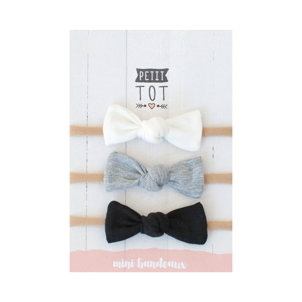 Jersey Bows on Headbands White, Grey, Black set of 3 (Min. 2 multiples of 2)