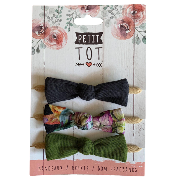 Bows on Headbands Dark Grey, Fall Mix, Olive Green set of 3 (Min. 2 multiples of 2)