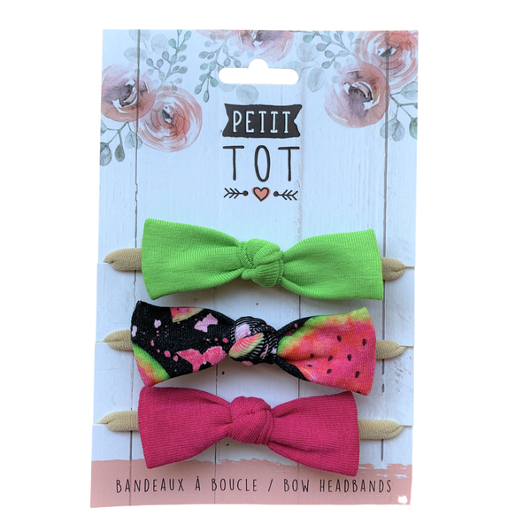 Bows on Headbands Lime, Melon, Dark Fuchsia trio set of 3 (Min. 2 multiples of 2)
