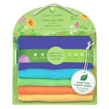 Muslin Face Cloths Made from Organic Cotton 5 Pack Blue (Min. of 6)