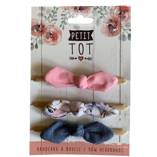 Bows on Headbands Rose Pale, Floral Design, Jeans set of 3 (Min. 2 multiples of 2)