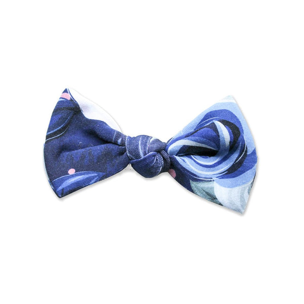 Big Bows on Hair Elastic - Fleur Aquerelle Bleu (Min. of 2 multiples of 2)