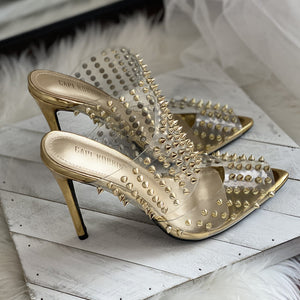 Dim Gray Ravish Gold Spike Slide On Heel