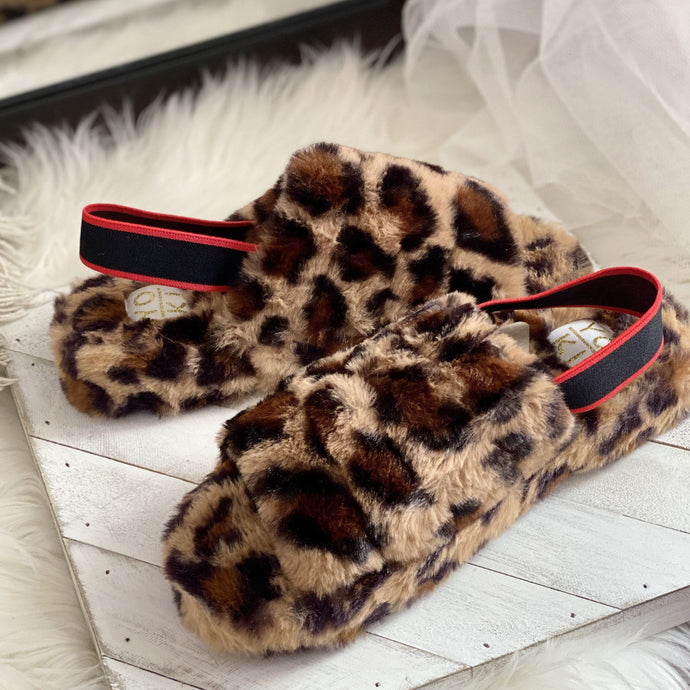 Dark Slate Gray Leopard Furry Slides
