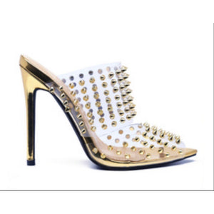 White Smoke Ravish Gold Spike Slide On Heel