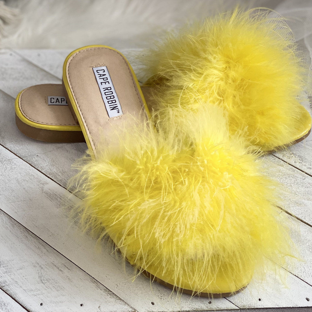 Goldenrod Fur Slides Sandal(Yellow)- FINAL SALE