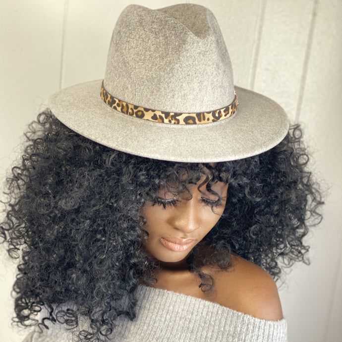 Light Gray Gray Leopard Belt Hat