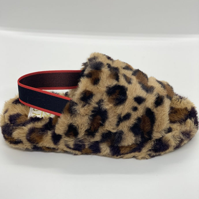 Dim Gray Leopard Furry Slides