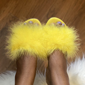Light Goldenrod Fur Slides Sandal(Yellow)- FINAL SALE