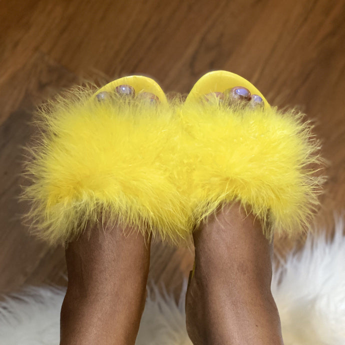 Light Goldenrod Fur Slide Sandal(Yellow)- FINAL SALE