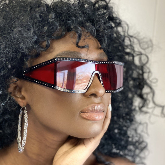 Dark Slate Gray Square Studded Sunglasses (Red)