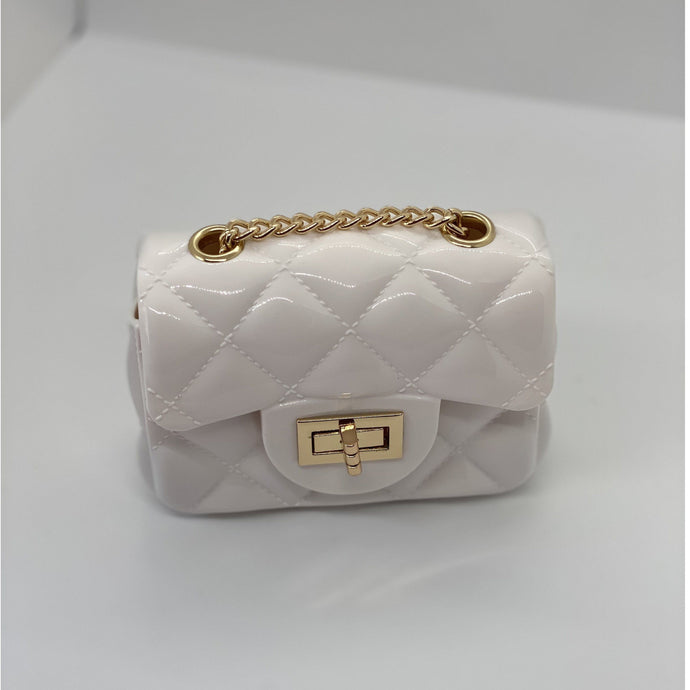 Rosy Brown Jelly Quilt Mini Bag (White)