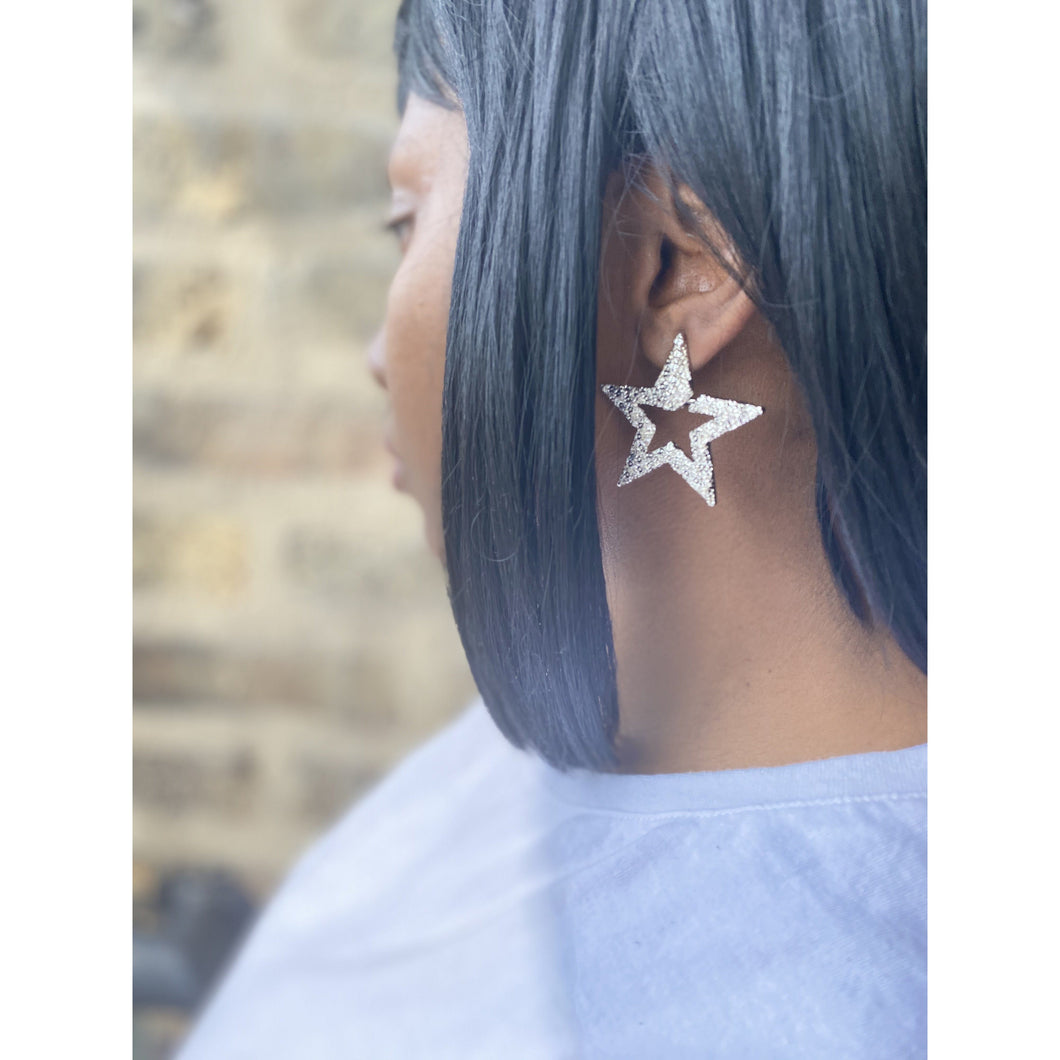 Dark Slate Gray Star Stud Earrings (Silver)