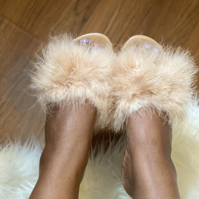 Tan Fur Slide On Sandal-1 (Nude)