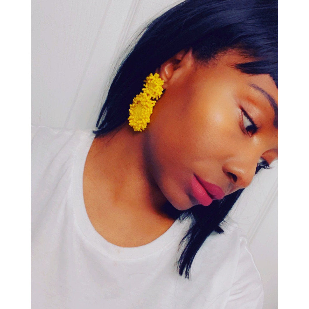 Light Gray Beaded Yellow Drop Earrings