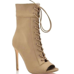 Rosy Brown Peep-Toe Lace Up Booties (Taupe)