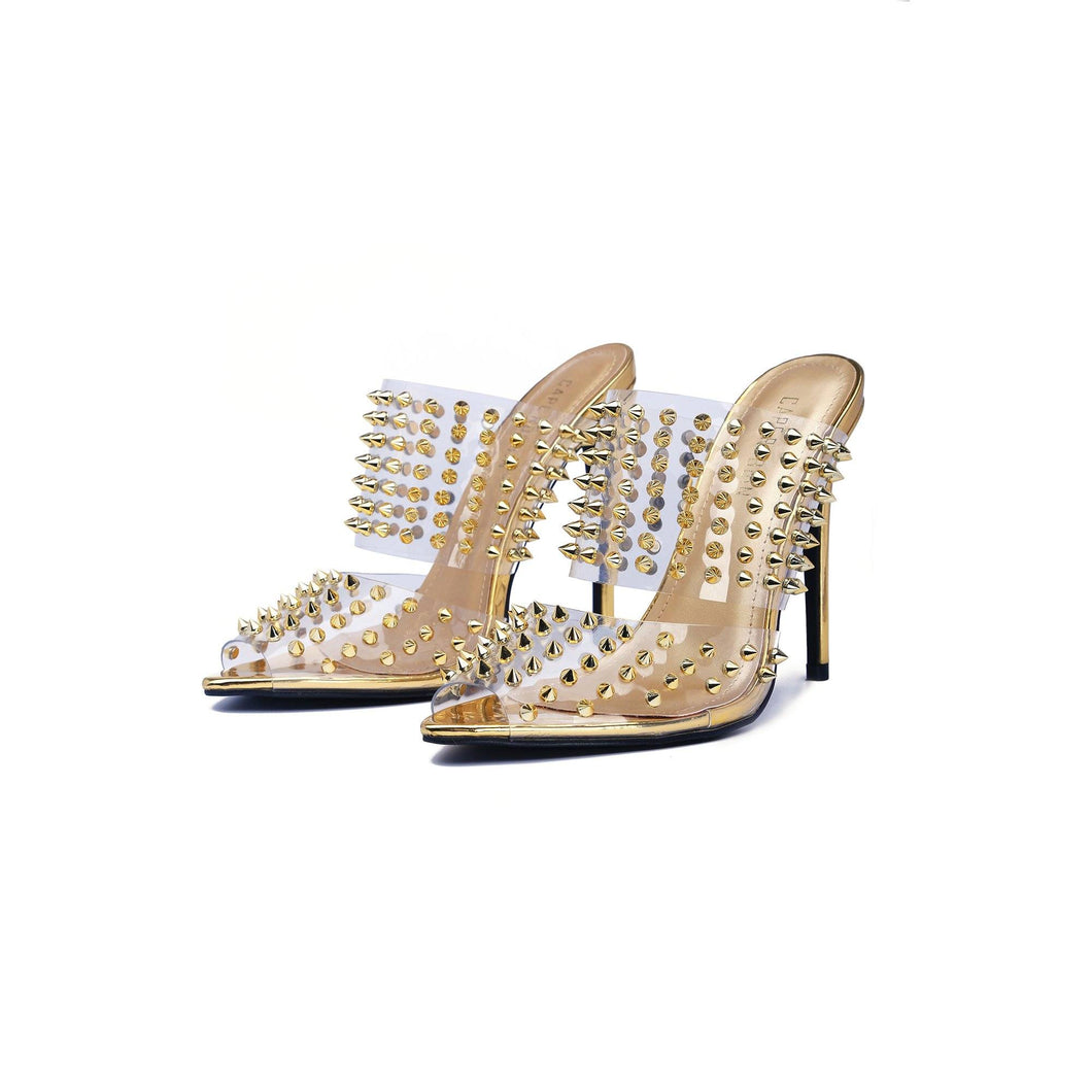 Rosy Brown Ravish Gold Spike Slide On Heel