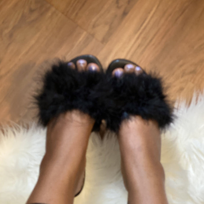 Black Fur Slide On Sandal-1 (Black)