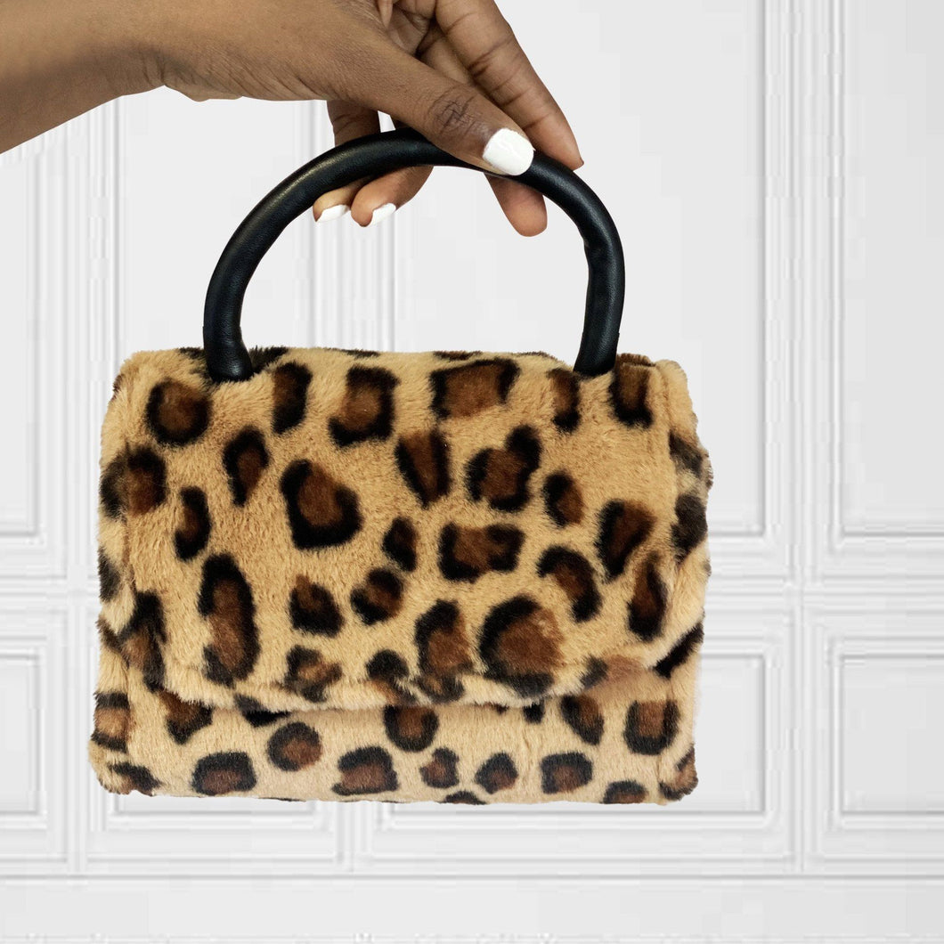 Dark Khaki Faux Fur Leopard Bag