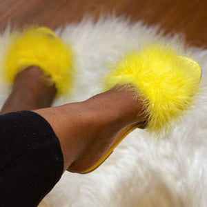 Gold Fur Slides Sandal(Yellow)- FINAL SALE