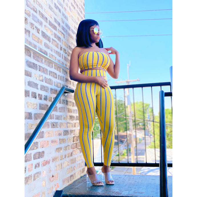 Dark Goldenrod Stripe 2-Piece Legging Set (Yellow)