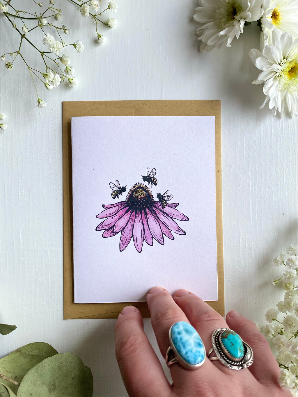 Echinacea + Bees Blank Card