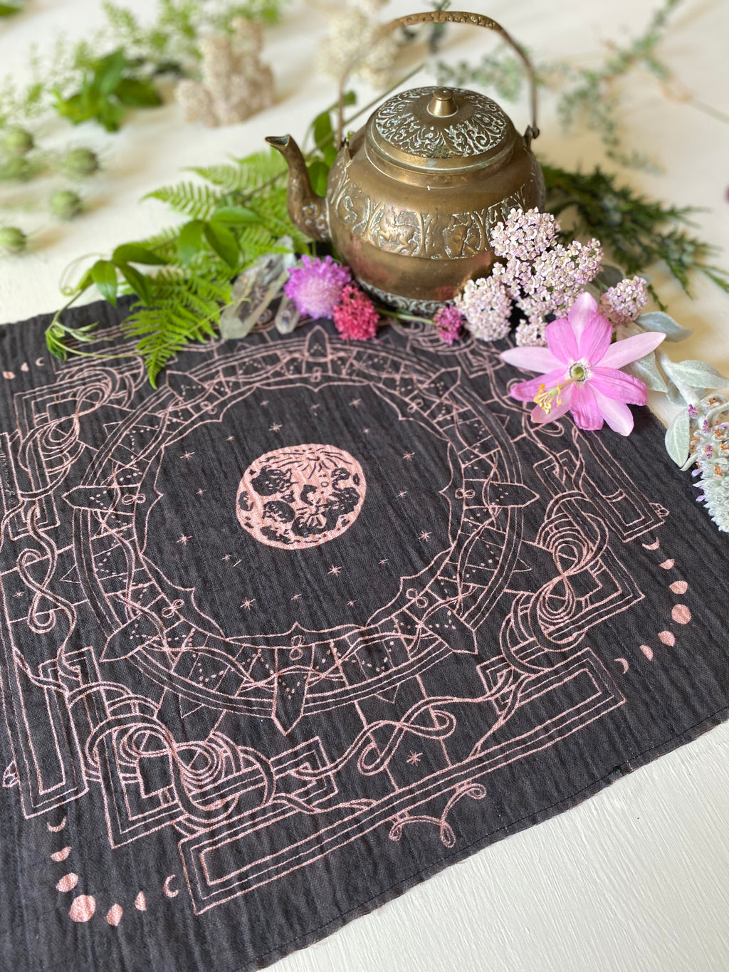 Bandana | Moon Yantra | Plant Dyed | Black + Rose