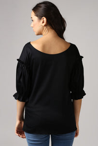 Black Boat Neck Gathered Frill Sleeve Top Back