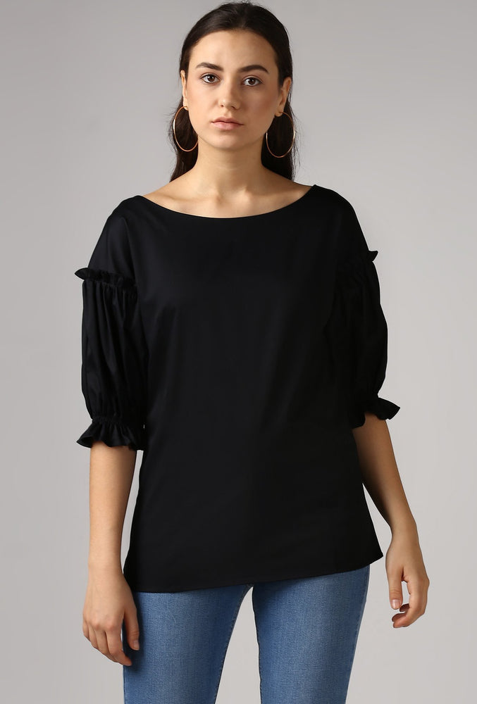 Black Boat Neck Gathered Frill Sleeve Top Crop