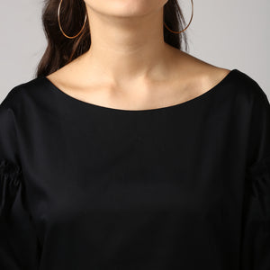 Black Boat Neck Gathered Frill Sleeve Top Detail