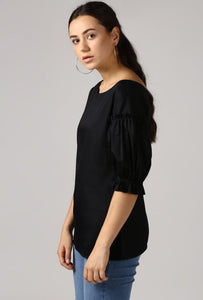 Black Boat Neck Gathered Frill Sleeve Top Side