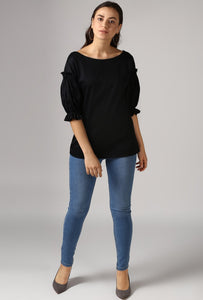Black Boat Neck Gathered Frill Sleeve Top Style
