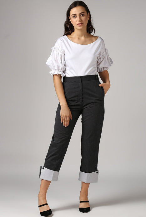 Black Dobby Pants With Cuffed Hem Style