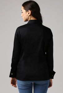 Black French Cuff Tailored Shirt Back