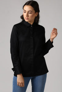 Black French Cuff Tailored Shirt Crop