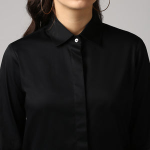 Black French Cuff Tailored Shirt Detail